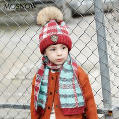 fb804835f228c1 MOSNOW Hats And Scarf Set Boy Cap Girl Elegant Lattice Fur Pompom Winter  High Quality 2017