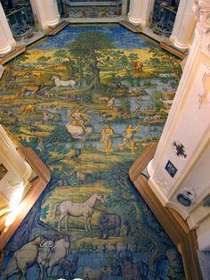 Chiesa di San Michele (Anacapri), particolari del pavimento maiolicato - Leonardo Chiaiese (XVIII sec)