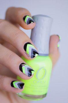 Chevron - Spring or Summer 2014. Neon Yellow, gray & white tribal pattern. Geometric nail polish art design. DIY zig zags.