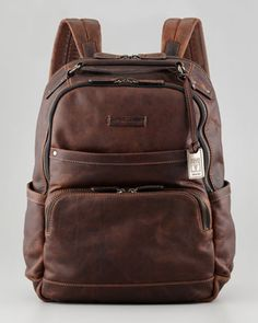 Logan Men\s Leather Backpack, Dark Brown by Frye at Neiman Marcus.