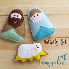 Items similar to Nativity set - PDF sewing pattern, nativity ornaments, Christmas ornament, softie on Etsy Christmas Crafts, Christmas Ornaments, Christmas Ideas, Nativity Ornaments, Pdf Sewing Patterns, Softies, Hand Stitching, Make Your Own, Coin Purse