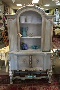 Gorgeous Hand Painted, French Polished 1920's Cabinet
