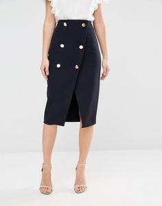 Double Button Wrap Skirt