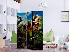 """Paraván - Angry Tyrannosaur [Room Dividers] 3 részes 135x172 cm    A mobil """"Angry Tyrannosaur [Room Dividers] 3 részes 135x172 cm """" térelválasztó egyedülálló megjelenést kölcsönöz a modern beltéri helyiségeknek.  A fából készült, mindkét oldalán nyomtatott 3 - részes, 135x172 cm –es díszparaván nemcsak diszkréten elválasztja a belső tereket egymástól, de káprázatos megjelenéssel ruházza fel őket.   Ingyenes szállítás Sibling Room, 3d Wallpaper Mural, Decorative Room Dividers, Changing Room, Tyrannosaurus, Studio Apartment, T Rex, Furniture Decor, Walt Disney"""