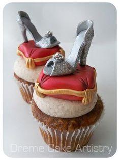 Silver high heel cupcakes