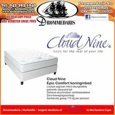Have you tried Cloud Nine mattresses and base sets yet? Drommedaris are proud stockists of the entire range and we undertake to beat any written quote on price. Your number one store for home and office furniture. Weekly Specials, Writing Quotes, Mattresses, Facebook Sign Up, Office Furniture, Sleep, Range, Clouds, Number