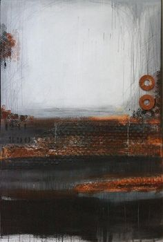 industrial, textured, abstract, rust, black, white, grey, mixed media, contemporary, acrylic on canvas