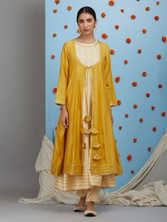 Cream Cotton Silk Sleeveless Anarkali Kurta with Pants and Mustard Yellow Jacket- Set of 3 Stylish Dress Designs, Dress Neck Designs, Stylish Dresses, Simple Dresses, Blouse Designs, Pakistani Dress Design, Pakistani Dresses, Indian Dresses, Pakistani Suits