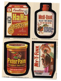 Wacky Packages--loved  to get these-- I think I have some stuck on my (oh no--metal with square corners) kitchen set!!