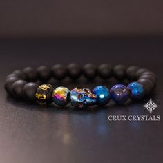 Men's Blue Swarovski Crystal Skull Beaded Bracelet, Gemstone Black Onyx, Blue Hematite & Lapis Lazuli Bracelet, Men's Jewelry Crux Crystals