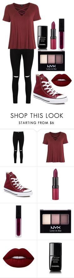 """""""Untitled #139"""" by lenka-skodiova ❤ liked on Polyvore featuring Boohoo, Topshop, Converse, Rimmel, NYX, Lime Crime and Chanel"""
