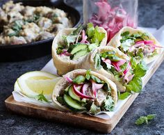 Middle Eastern pita breads inspired by Ottolenghi's Jerusalem. Stuffed with tahini baked lentil koftas, sumac onions, and mint. Vegan   by Maikin mokomin