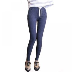 Women's Slim Elastic Denim Leggings for Sport and Casual Fashion Pants, Girl Fashion, Ankle Length Pants, Denim Leggings, Autumn Winter Fashion, Yoga Pants, Sexy, Skinny Jeans, Sweatpants