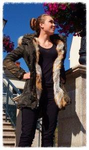Elegancka kurtka PARKA z lisem długa