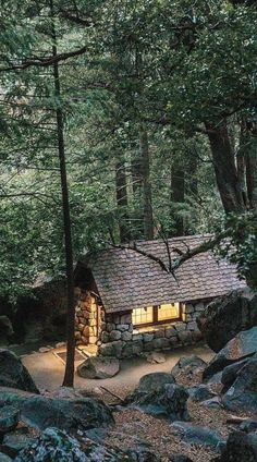 Tiny House Cabin, Cabin Homes, Log Homes, Cabin In The Woods, Little Cabin, Cabins And Cottages, Log Cabins, Forest House, Stone Houses