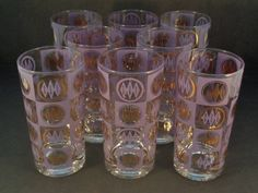 Barware Collection - LIBBEY - PURPLE AND GOLD GRAPHIC - HIGHBALL