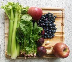 Beet, celery, spinach, apples, ginger, turmeric & blueberries. High blood pressure.