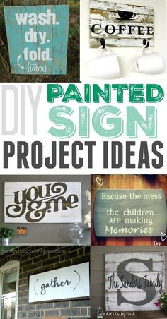 Easy DIY painted sign project ideas! Love how simple these are to make and what a big impact they have in a room!