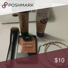 Makeup They are in good condition.rimmel stay matte in soft beige#200,loreal infallable total cover in creamy natural #302,wet n wild blush in mellow wine 328b and a brush #621. rimmel Makeup Foundation