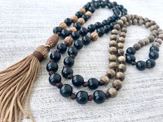 Mala necklace black brown mala necklace wooden mala necklace wood beads mala meditation necklace yoga mala tassel necklace 108 beads by Katiaicrafts on Etsy