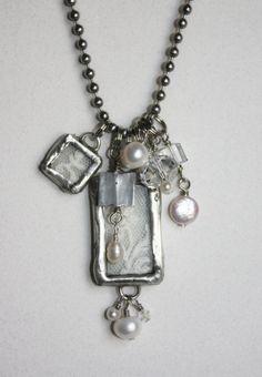 [broken china soldered pendants | ... Lace Pendant Necklace by ... | Soldered China, Broken China