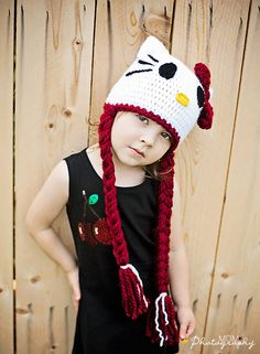 Hello Kitty hat, Crochet girl hat ,  Toddler hat with braids. via Etsy. For my Linley.