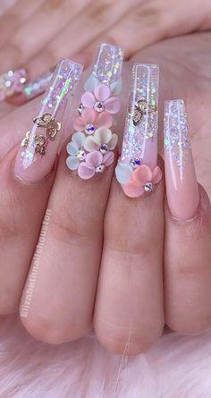 Rhinestone Nails, Bling Nails, Stylish Nails, Trendy Nails, Acrylic Nail Designs, Nail Designs Floral, Best Nail Designs, Exotic Nail Designs, 3d Flower Nails