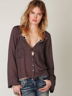 """Free People """"Bell Sleeve Lace-Up"""" Tobacco Brown Button-Down Boho Steampunk Top S #FreePeople #Tunic #Casual"""