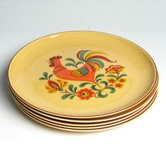 Reveille Rooster Plates Set, $42, now featured on Fab.