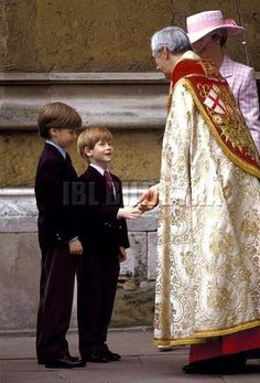 Princes William and Harry and their mother Princess Diana after an Easter Sunday Service at Windsor Castle.