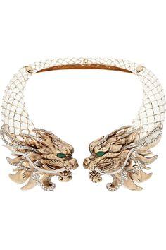 Roberto Cavalli|Dragon gold-plated, enamel and Swarovski crystal necklace|NET-A-PORTER.COM
