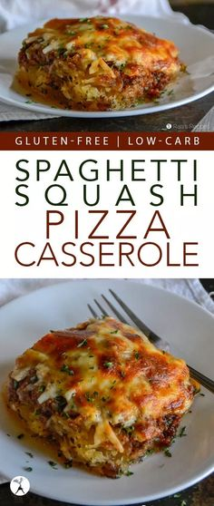 Spaghetti Squash Pizza Casserole :: gluten-free, low-carb - - Easy and kid-friendly combine to make this Spaghetti Squash Pizza Casserole a win! It's naturally gluten-free and low in carbs, too! Spaghetti Squash Pizza, Spaghetti Squash Recipes, Low Carb Soup Recipes, Vegetarian Recipes Dinner, Paleo Dinner, Free Recipes, Keto Recipes, Healthy Recipes, Sin Gluten