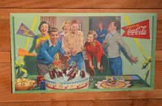"""VINTAGE RARE 50's COCA COLA """"YOUNG KIDS & PARTY"""" POSTER S"""