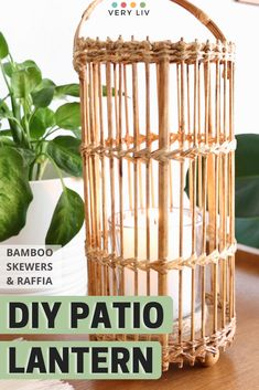 Learn how to make your own Patio Lantern with bamboo skewers and raffia! Find more DIY ideas on Very Liv! Cheap Lanterns, Patio Lanterns, Boho Aesthetic, Bamboo Skewers, Zig Zag Pattern, Small Furniture, Weaving Patterns, Wooden Blocks, Easy Peasy