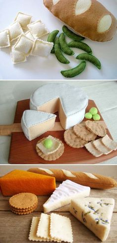 DIY play food from felt OMG LOOK AT THE CHEESES! I like the reverse-applique french bread, too-- it's a cleaner aesthetic.