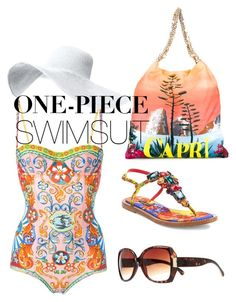 """One-piece swimsuit"" by tootieblack on Polyvore featuring Dolce&Gabbana, River Island and onepieceswimsuit"