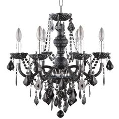 $99 Hampton Bay 6-Light Chrome Maria Theresa Chandelier with Black Acrylic-C873BK06- - The Home Depot