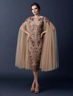 Snakeskin dress with capePaolo Sebastian 2015 Autumn/Winter Collection via @FlyAwayBride