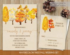 Fall wedding invitations with watercolor fall trees on a kraft paper background. The fall wedding invitation set is completed with handwritten calligraphy and fun fonts. by NotedOccasions