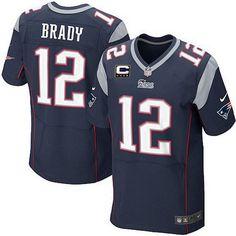 d19446782 ... NFL Nike New England Patriots 12 Tom Brady Blue C Patch Elite Jersey ...