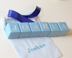 Personalized wooden blocks in any color of your choosing These Blocks are made - to - order and can be customized to colors of your choice from available list. These items are great for nursery, baby shower gift or even a photo session. Can be personalized to name or sentences, numbers like births date, birth weight or childs age. These wooden blocks are each unique due to the variations in wood grain. They are all hand cut from pine wood, sanded and half painted with non-toxic acrylic…