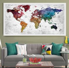 Custom push pin travel world map canvas watercolor gray countries push pin travel map of the world personalized home decor wall art poster print gift for her pin map art push pin map l48 gumiabroncs Gallery