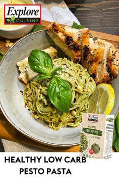 Try this delicious pesto pasta recipe, plant-based style! We love this healthy, vegan edamame pasta recipe, topped with basil, avocado oil, and parmesan! #easypastarecipes #plantbasedpasta #pesto Edamame Spaghetti, Edamame Pasta, Pesto Pasta Recipes, Avocado Oil, Plant Based Recipes, Parmesan, Basil, Low Carb, Vegan