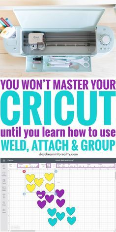 Today we are going to be covering some of the MOST IMPORTANT concepts in Cricut Design Space; Weld, Attach and Group. Learning how to, and when to use any of these tools inside Cricut Design Space will take you from rookie to expert! Mason Jar Crafts, Mason Jar Diy, Cv Finance, Cricut Help, Vinyl For Cricut, Cricut Vinyl Projects, Cricut Air 2, How To Use Cricut, Cricut Fonts