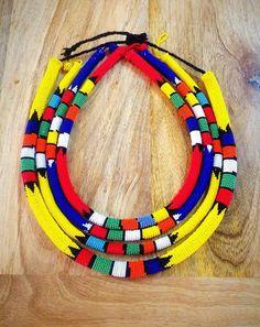 Assorted traditional Zulu beaded necklace by ZuluBeads on Etsy Pedi Traditional Attire, Zulu Traditional Wedding, Traditional Decor, African Necklace, African Beads, African Jewelry, Diy Fabric Jewellery, Beaded Jewelry, Beaded Necklace