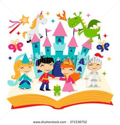 A cartoon vector illustration of cute retro magical fairytale kingdom story book. It's filled with unicorn, dragon, princesses, castle and more.