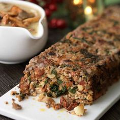 Nut roast with wild mushroom gravy Vegetarian Christmas lunch recipes Red Online Veggie Dishes, Veggie Recipes, Lunch Recipes, Cooking Recipes, Cooking Pasta, Nut Recipes, Tilapia Recipes, Cooking Fish, Cooking Bacon