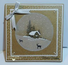 Using a stamp from Inkylicious called Winter Cabin. Stamped onto kraft card