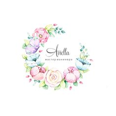 Logo Arte Floral, Watercolor Logo, Watercolor Flowers, Pastell Tattoo, Create A Business Logo, Floral Frames, Nail Logo, Thai Art, Floral Logo