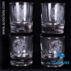 Pack of 4 whisky glasses with Lindsay clan crest - from ScotClans